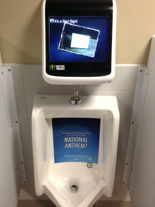 A urinal with the game installed