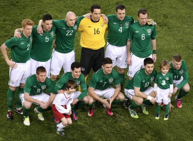 The Ireland team pose for a photo ahead of their recent friendly with Poland.