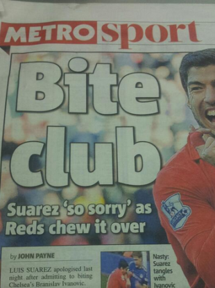 The Metro's Suarez headline