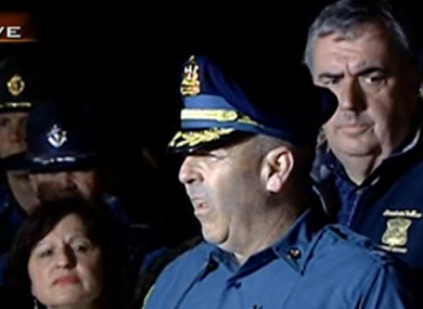 Massachusetts State Police Colonel Timothy Alben speaking to the media tonight