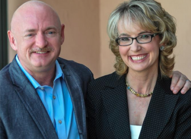 Giffords with her husband, former astronaut Mark Kelly.
