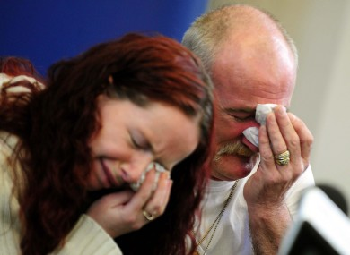Mick Philpott and wife Mairead speak to the media at Derby Conference Centre, Derby following a fire at their home