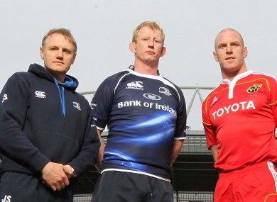 (l-r) Joe Schmidt, Leo Cullen and Paul O'Connell.