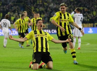Lewandowski celebrates scoring last night.