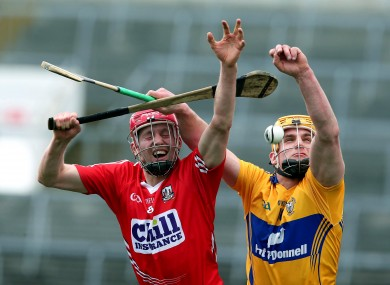 Cork's Lorcan McLoughlin and John Conlon of Clare.