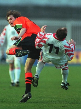 Jason McAteer was sent off for this high challenge on Artim Sakiri.