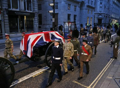 Rehearsals for the funeral of Margaret Thatcher earlier today.
