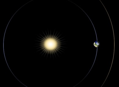 This artist rendering provided by NASA shows the positions of the sun, Earth and Mars, at left.
