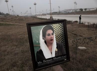 A framed photograph of Pakistan's slain leader Benazir Bhutt