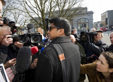Savita Halappanavar's widower Praveen arrives at the inquest into his wife's death in Galway this morning.