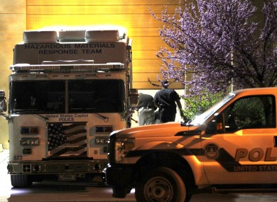 A police hazardous materials vehicle outside the mail processing facility for the US Congress on Tuesday night