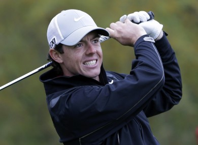 Rory McIlroy watches his tee shot on the 12th hole during the pro-am at the Texas Open golf tournament.