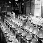 Making cathode ray tubes at the EMI factory at Hayes, Hillingdon, England for use in televisions in 1949. (Barratts/S&G Barratts/EMPICS Archive)