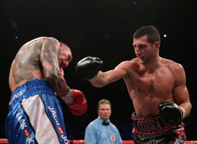 Carl Froch (right) in action with Mikkel Kessler during their IBF Middleweight Championship fight at the O2 Arena.