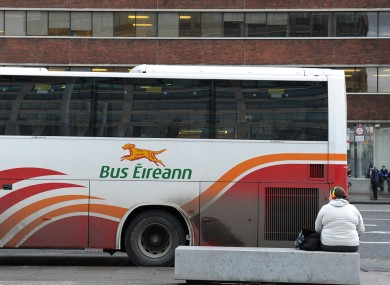 A Bus Éireann bus outside the main bus terminal Busaras in Dublin