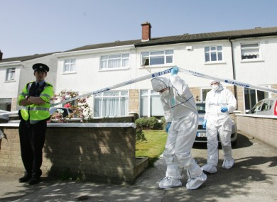 Gardai and members of the Garda Forensic unit at the scene of a stabbing in Donaghmede Park, North Dublin.