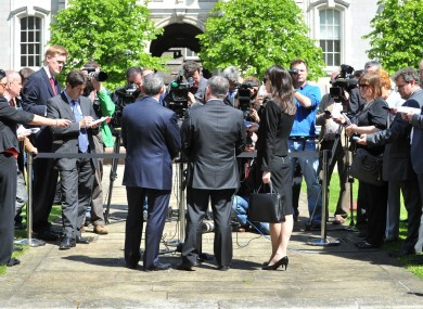 Brendan Howlin making the announcement at Leinster House.