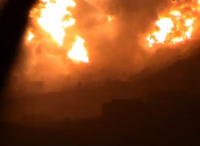 A video still showing the apparent aftermath of the bombing in Damascus