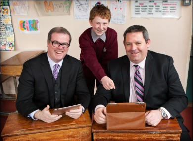 Jordan Casey with Lar Power, Director of Services at Waterford City Council, and Ciaran Cullen, CEO Waterford City Enterprise Board, at De la Salle College in Waterford.