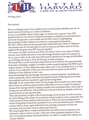 The first page of the letter Little Harvard distributed to parents this week