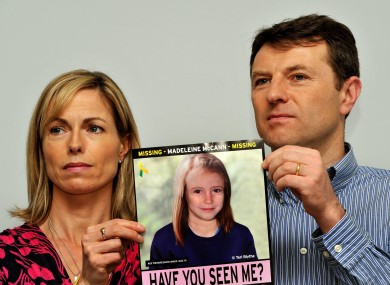Gerry and Kate McCann holding a picture of what their daughter Madeline might look like today.