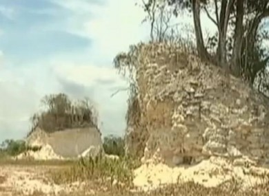 The Nohmul complex, one of the largest Mayan structures is wrecked by bulldozer