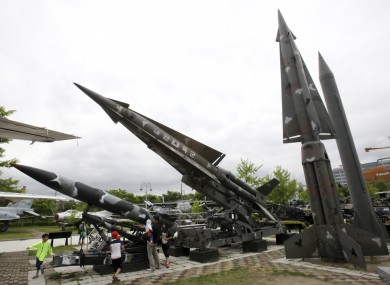 A mock Scud-B missile of North Korea, right, and other South Korean missiles are displayed at Korea War Memorial Museum in Seoul, South Korea.