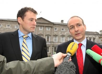 Fianna Fáil's education spokesman Charlie McConalogue, and party leader Micheál Martin.