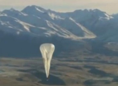 Google balloon over New Zealand