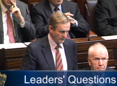 The Taoiseach Enda Kenny taking Leaders' Questions in the Dáil this morning.