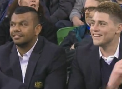 Kurtley Beale and James O'Connor at the Rebels v Lions game.