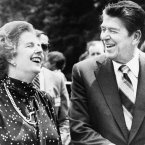 Former US President Ronald Reagan and former British Prime Minister Margaret Thatcher, share a laugh during a break from a session at the Ottawa Summit on 21 July 1981 in Canada. (AP Photo/File)