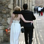 Students make their way home after attending the May Balls celebrations in Cambridge. (Chris Radburn/PA Wire.)