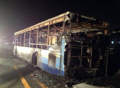 A photo posted to Twitter by Chinese agency Xinhua shows the remnants of the gutted bus.