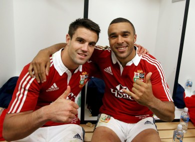 Lions' Conor Murray and Simon Zebo in the dressing room.