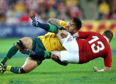 Ioane tackles Brian O'Driscoll during Saturday's first Test in Brisbane. The Lions won 23-21.