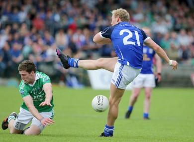 Fermanagh's Eoin Donnelly blocks the shot of Cavan's Declan McKiernan.
