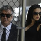 Alec Baldwin, left, and his wife Hilaria Thomas at Cathedral Church of Saint John the Divine. (AP Photo/Julio Cortez)