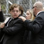 Michael Gandolfini, left, son of James Gandolfini, arrives for the funeral service of his father, star of