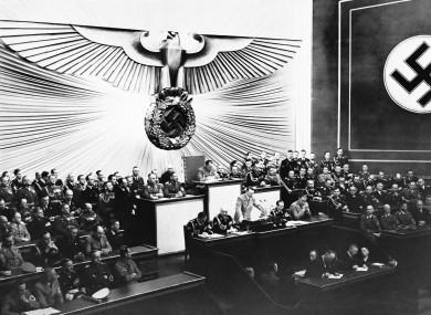 A Nazi meeting at the Kroll Opera in Berlin in April 1939.