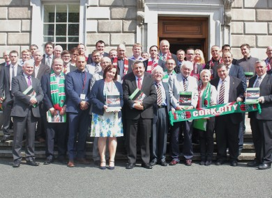 Supporters pictured at Dáil Éireann this afternoon.