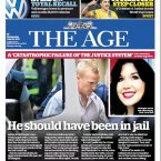 The front page of the Melbourne-based 'The Age'