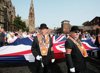 Orange Order march in Belfast this afternoon.