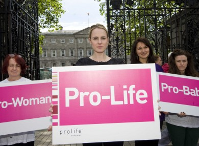 Members of the pro-life campaign outside Leinster House