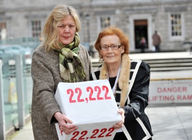 Mairin O'Moore (right) and her daughter Eilin O'Moore from the Survivors of Symphysiotomy group pictured in April 2013.