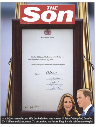 How British newspaper front pages covered the royal baby