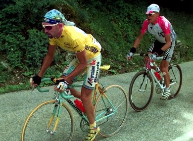 Jan Ullrich of Germany, right, trails Marco Pantani during the 1998 Tour.