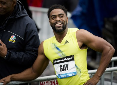 Gay was informed Friday July 12, 2013, he has tested positive for a banned substance and says he will pull out of the world championships next month in Moscow.
