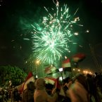 Fireworks light the sky as opponents of Egypt's Islamist leader Mohammed Morsi celebrate outside the presidential palace in Cairo, Egypt, Wednesday, July 3, 2013. Egypt's military has suspended the Islamist-backed constitution and called early elections. The military also announced that embattled President Mohammed Morsi will be replaced. Cheers erupted among millions of protesters nationwide who were demanding Morsi's ouster. (AP Photo/Khalil Hamra)