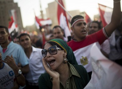 Supporters of General Sisi in Tahrir Square earlier today